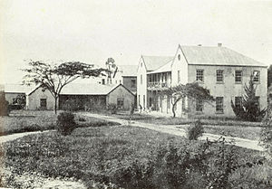 Daniel Lindley - The Seminary. The building that Lindley first built is on the left. The later Edwards Hall is to the right with Lucy Lindley Hall in the background.