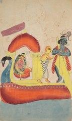 Krishna Ferrying Radha Across the Yamuna River