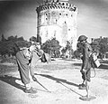 Indian troops sweep for mines around the Tower in Salonika 1944.jpg