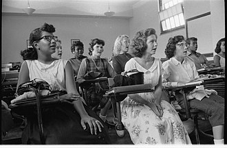 School integration in the United States - An integrated classroom in Anacostia High School, Washington, D.C., in 1957