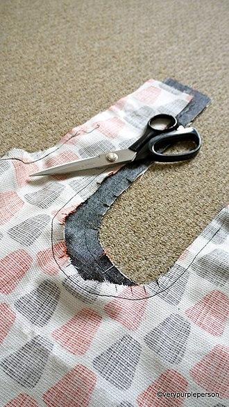 Seam (sewing) - Image: Inward curving seams clipped