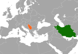 Map indicating locations of Iran and Serbia