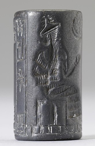 Enlil - Ancient Persian cylinder seal dating to between 550 and 330 BC, depicting an unidentified king wearing the horned crown, Enlil's primary symbol