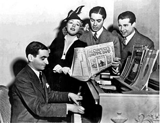 Irving Berlin - Berlin with film stars Alice Faye, Tyrone Power and Don Ameche singing chorus from Alexander's Ragtime Band (1938)