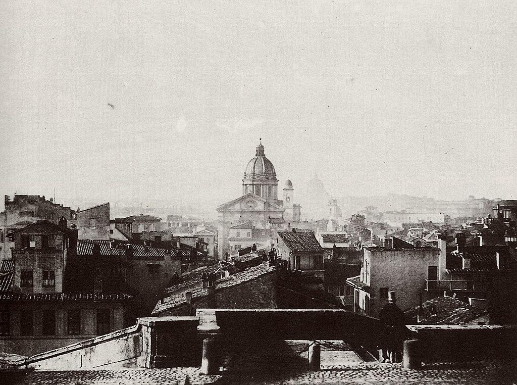 Vue sur Rome en 1850 depuis la piazza SS Trinità dei Monti.