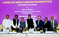 "J.P. Nadda, the UNICEF Goodwill Ambassador, Shri Amitabh Bachchan and other dignitaries at the launch of the media campaign on ""HEPATITIS B"", in Mumbai on November 23, 2015.jpg"