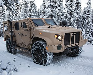 Joint Light Tactical Vehicle - A production standard USMC JLTV in M1280 General Purpose (GP) configuration, this example fitted with a deep fording kit and tire chains