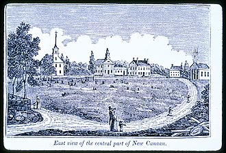 New Canaan, Connecticut - East view of Church Hill, the central part of New Canaan (1836) by John Warner Barber