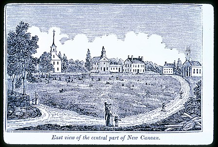 East view of Church Hill, the central part of New Canaan (1836) by John Warner Barber