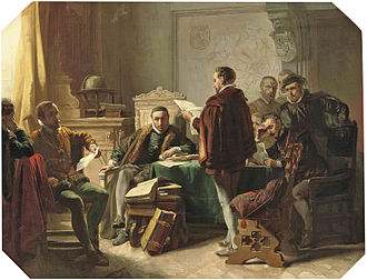 Wilhelmus - Philips of Marnix presents the Wilhelmus to William the Silent, by Jacob Spoel (ca 1850).