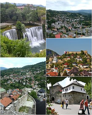 Jajce - Top left: Pliva Waterfall Top right: Panorama view eastern Marsala Tita area, from Jajca Fortress Middle right: Jajca Fortress and ancient area Bottom left: View of Sejh Mustafe area Bottom right: Meadow Gate and Omer Bey's Native House