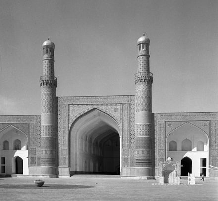 The Friday Mosque of Herat is one of the oldest mosques in Afghanistan. (March 1962 photo) Jama Masjid of Herat 15 08.jpg