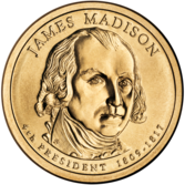 James Madison Presidential $1 Coin obverse