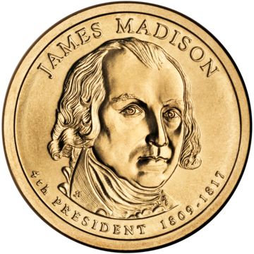 2007 Presidential Dollar of James Madison James Madison Presidential $1 Coin obverse.png