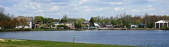 Jamesburg, New Jersey - Jamesburg as seen across Lake Manalapan from Thompson County Park