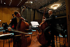 Jamshed Bhabha Theatre - Members of the Israel Philharmonic Orchestra rehearse at the Jamshed Bhabha theater before their performance