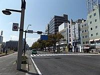Japan National Route 30 Takamatsu ekimae crossing at Takamatsu city.JPG