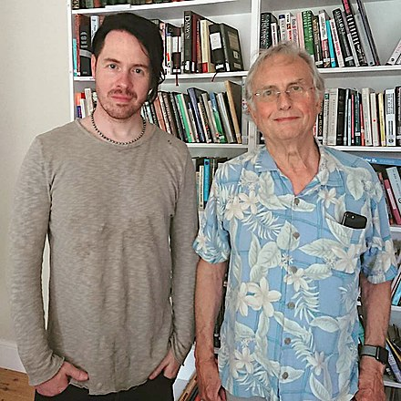 Jayce Lewis alongside Richard Dawkins at the Home of Dawkins working together on Jayce's album Million (Part 2) Jayce Lewis & Prof Richard Dawkins 2018.jpg
