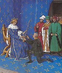 Du Guesclin est fait connétable par le roi Charles VSource :   Bibliothèque nationale de France