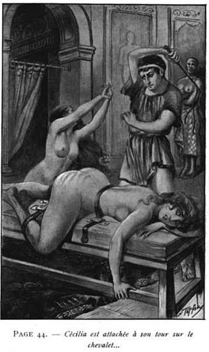 Spanking literature - Georges Topfer illustration on a Jean de Virgan book representing a flogging in Ancient Rome.