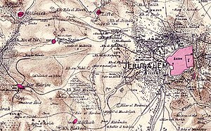 Lifta - Lifta in relation to Jerusalem in the 1870s