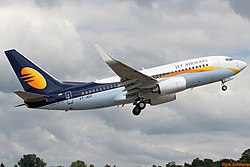 Jet Airways B737-76N (VT-JGZ) departing Boeing Field.jpg