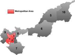 "Dongfeng is the division labeled ""3"" on this map of Jiamusi City"
