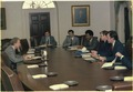 Jimmy Carter hosts budget meeting with Stuart Eizenstat, Jack Watson, James McIntyre and other White House aides. - NARA - 182624.tif