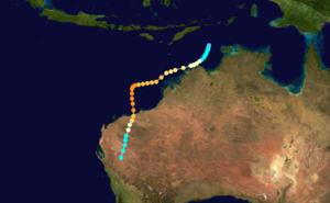 1975–76 Australian region cyclone season - Image: Joan 1975 track