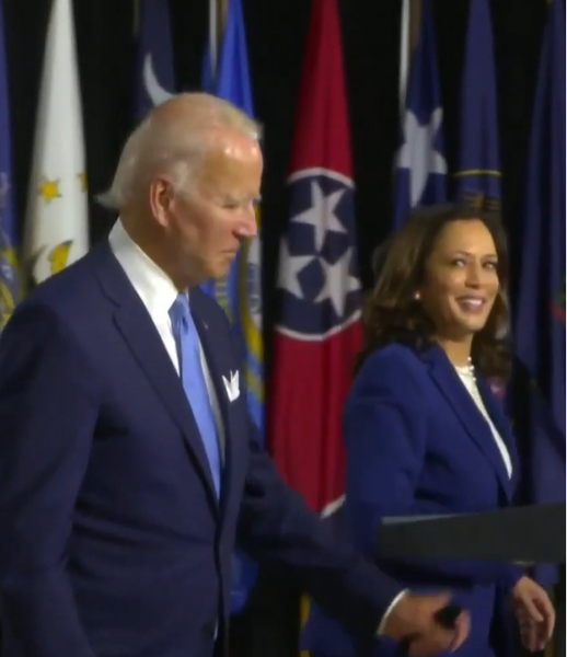 File:Joe Biden and Kamala Harris at first campaign event since the announce of her selection as VP.png Description English: Joe Biden and Kamala Harris at their first campaign event since the announcement of her selection as VP candidate. Date12 August 2020 SourceYouTube AuthorThe Circus on SHOWTIME Other versions Image extraction processThis file has an extracted image: File:Joe Biden and Kamala Harris at first campaign event since the announce of her selection as VP (cropped).png.