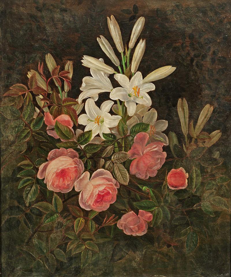 Johan Laurentz Jensen - Blomst stadig liv med roser og liljer.jpg