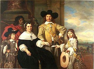 Family portrait of Rijcklof van Goens and Jacomine Bartolomeusdr. Rosegaard, their children Rijcklof and Volckert, and a servant