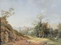Johann Friedrich Nagel - Bauernfamilie auf einem breiten Weg nach Sornitz bei Meißen.png