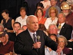 John McCain in Albuquerque for a Town Hall meeting on July 14, 2008.