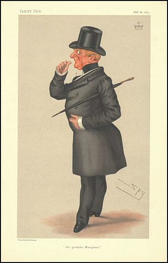 """John Paulet, 14th Marquess of Winchester - """"The premier marquess"""" Winchester as caricatured by Spy (Leslie Ward) in Vanity Fair, February 1877"""