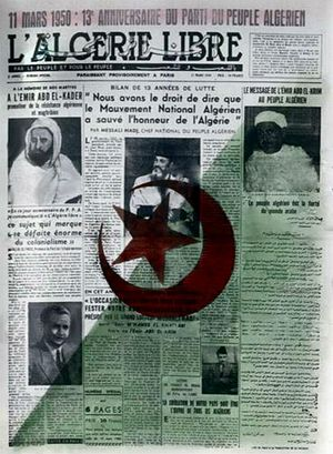 Independence Day (Algeria) - Front page Free Algeria  in 1950 for the celebration of the 13th anniversary of the Algerian People's Party.