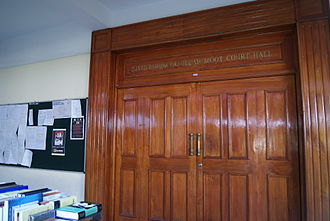 National Law School of India University - The entrance to the Justice Hidayatullah Moot Court Hall, named after former Chief Justice of India Mohammad Hidayatullah, at the university