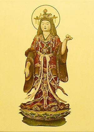 Kisshōten - Statue of Kisshoutennyo holding her Nyoihōju gem (如意宝珠), from the Jyoruri temple in Kizugawa.