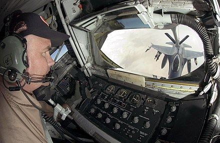 USAF KC-135R boom operator view - Aerial refueling