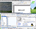 KDE 3.2.1 on SuSE Linux 9.1 showing OpenOffice.org 1.1.1, Konqueror, and Konsole.png