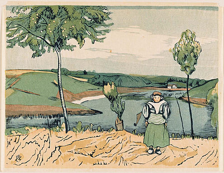 Colour print of a riverside landscape with a small figure in the bottom right