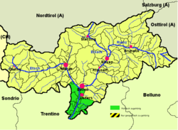 Überetsch-Unterland district (highlighted in green) within South Tyrol