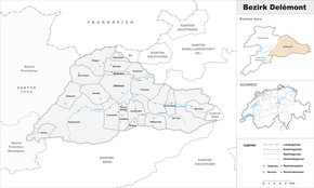 Karte von Bezirk Delsberg (frz.: District de Delémont)
