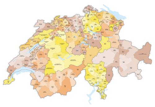 Karte Bezirke und Kreise der Schweiz farbig 2016