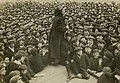 Katherine Douglas Smith speaking to a crowd of men, c.1906-1914. (22505248287).jpg