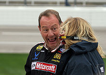Driver Ken Schrader has a laugh