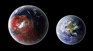 Kepler-442b - Approximate size comparison of a hypothetical superhabitable planet with Earth.