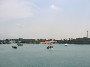 Keppel Harbour - Keppel Harbour, with the island of Sentosa in the background, as seen from VivoCity.