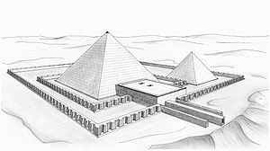 Drawing of a pyramid surrounded by a wall and with a small temple adjacent to one side.