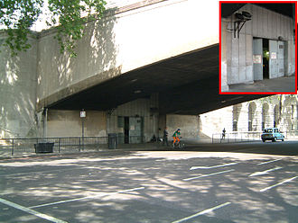 Kingsway tramway subway - 1937 entrance under Waterloo Bridge